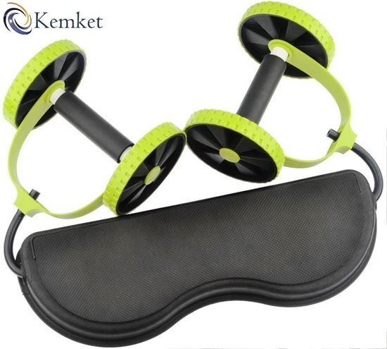Picture of Core Double Wheels Ab Roller Pull Rope Abdominal Muscle Wheel Waist Slimming