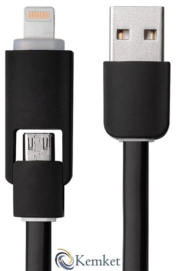 Picture of 2 In 1 Micro USB data cable for iPhone and Android series  wire 1m BLACK-DefaultVariant