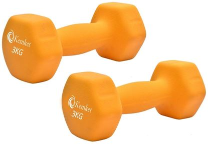 Picture of Neoprene Hand Dumbbells Weights (Pair) Fitness Home Gym Exercise Barbell 3kgs Home Gym Fitness Exercise workout training