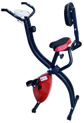 Picture of Kemket Foldable Exercise Bike With Pulse Sensor Grips Folding Magnetic Bike Exercise Bike X Frame Fitness Cycle Cardio Weight Loss Fitness Workout Machine -Red