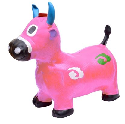 Picture of Pink Cow Hopper - (Inflatable Space Hopper, Jumping Cow, Ride-on Bouncy Animal)