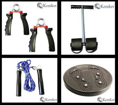 Picture of Kemket Flexi Rod or Power Twister for Shoulder Arms and Heavy Duty Spring, Adjustable Hand Grip Exerciser, Chest Expander Hand Gripper 5 Springs Muscle Pull Exerciser Training Multi-Function, Skipping Rope Fitness Speed rope for Exercise Gym Jumping Workout. Waist Twister Disc Without Ropes Foot Massager Stepper wriggled plate, Foot Pedal Arm Tummy Stretching Pull up Spring Expander.