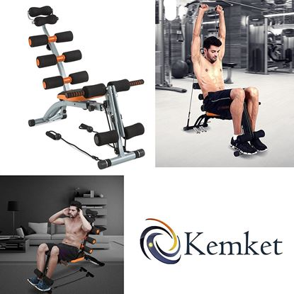 Picture of Kemket Multi functional 6 in 1Six Pack Care Exercise Bench Abdominal And Back Trainer & Premium Magnetic Exercise Bike Fitness with 5kgs and 4kg Inner Magnetic Flywheel