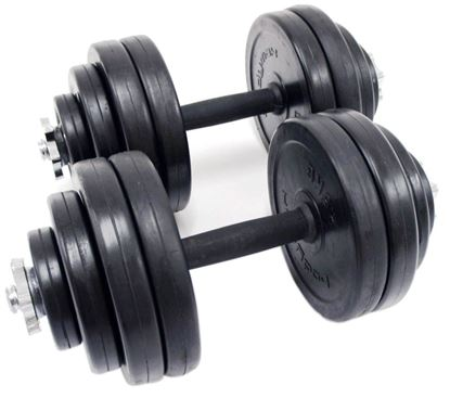 Picture of Kemket Dumbbell Set Kit Weights Training Gym Workout Fitness Body Building Home Muscle Training Bodybuilding- RubberCoated Iron Combination Dumbell 15 KG