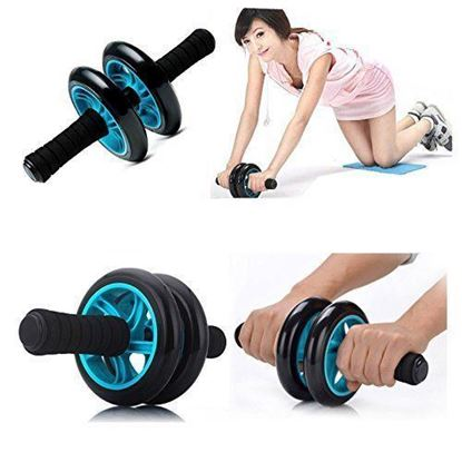 Picture of Kemket Abdominal Exercise Slider Roller Wheel With Extra Thick Knee Pad Mat and Comfort Foam Handles. BLUE