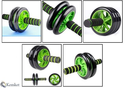 Picture of Kemket Abdominal Exercise Slider Roller Wheel With Extra Thick Knee Pad Mat and Comfort Foam Handles. GREEN