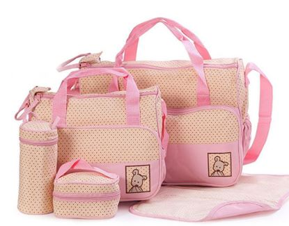 Picture of 5Pcs Baby Nappy Changing Set Mummy Bags Multifunctional Large Capacity Shoulder Light Pink