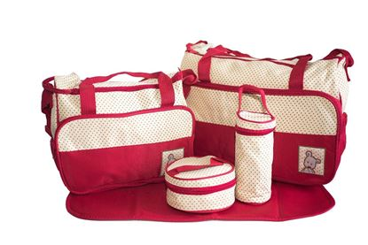 Picture of 5Pcs Baby Nappy Changing Set Mummy Bags Multi functional Large Capacity Shoulder Light RED
