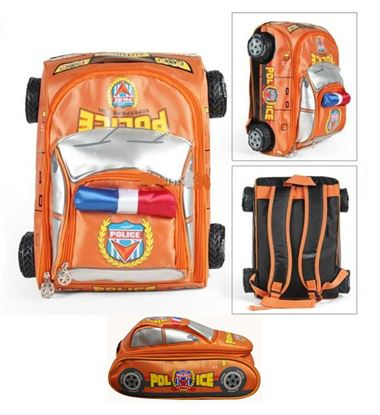 Picture of Autokids Child Backpack Anti-lost The Police Car Design Bag With Pencil Case (Orange)