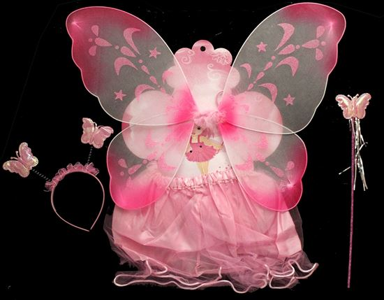 Picture of BUTTERFLY WING 4 PCS WITH SKIRT PINK
