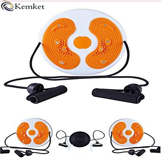 Picture of Kemket Magnetic Waist Twister Disc Fitness Massage Round With Hand Ropes And Without Ropes Foot Massager Stepper wriggled plate (ORANGE, With Ropes)