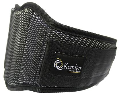 """Picture of Kemket ™ Weight Lifting Belt - Elite Body Squad Pro Quality Neoprene Back Support Belt & Bodybuilding Lumbar Back Support Gym prominent muscle strain protection belt With Speed Fit Velcro Closure And Stainless Steel Hook And Loop Design - 6"""" Wide Soft Feel Padding + 100% Satisfaction Guarantee small Waist Size - L 35"""" - 41"""