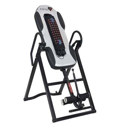 Picture of Inversion Table - With Vibro Massage & Heat - Heavy Duty up to 135 KG - Comfort Foam Backrest, Back Fitness Therapy Relief - Increase Blood Circulation White