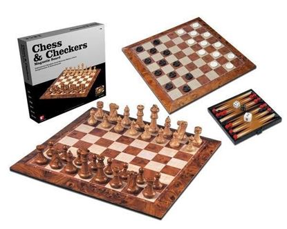 Picture of 3 IN 1 PLASTIC MAGNETIC WOOD PATTERN CHESS & CHECKERS BIG SIZE