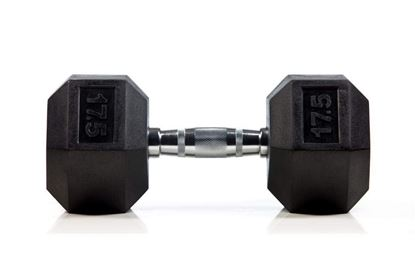 Picture of Rubber Hex Dumbbells  Sold In Single Home Gym Fitness Exercise workout training 17.5kg