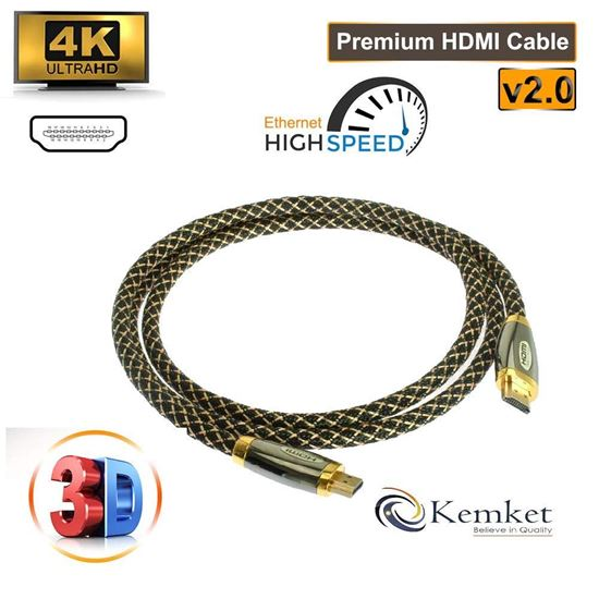 Picture of Kemket HDMI to HDMI Gold Plated Connectors High Speed Gold Premium Quality ZINK HDMI supports all HD ready devices and gadgets in Male to Male Zink HDMI Cable 1.5 Meter
