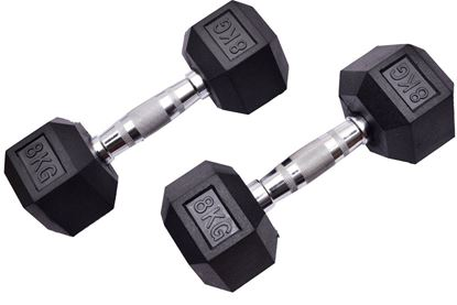 Picture of Kemket Rubber Hex Dumbbells Pair - 8kg Home Gym Fitness Exercise workout training 8kg