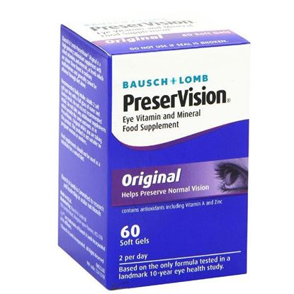 Picture of Bausch&Lomb PreserVison Eye Vitamin and Mineral Food Supplement Original For AMD 60 Soft Gels